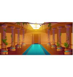 Ancient greek palace with pillars and ivy vines vector