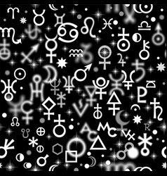 Astrological signs mystic symbols seamless pattern vector