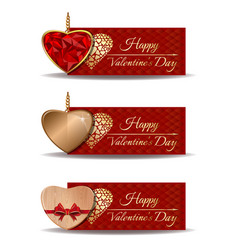 banners set for valentines day vector image