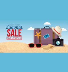 beach with summer sale icons vector image