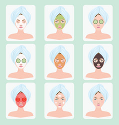 beautiful woman with facial mask vector image