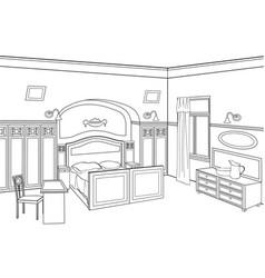 Bedroom furniture room interior outline sketch vector