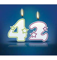 Birthday candle number 42 vector