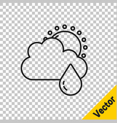 black line cloud with rain and sun icon isolated vector image