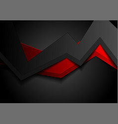 black red abstract 3d geometric background vector image