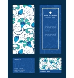 Blue green swirly flowers vertical frame vector