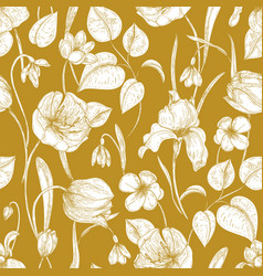 Botanical seamless pattern with spring blooming vector