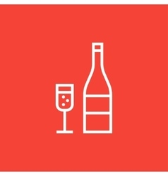 Bottle of champaign and glass line icon vector image