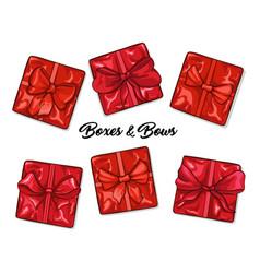 boxes and bows hand drawn set vector image