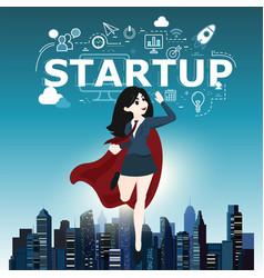 businesswomen superhero flying fast for business vector image