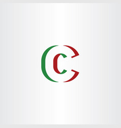 c letter logotype green red icon symbol vector image