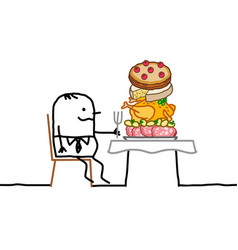 cartoon fat man sitting a a table with a too big vector image
