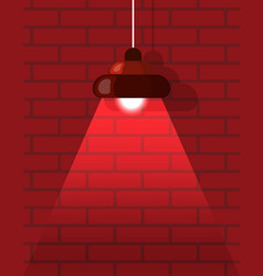 chandelier and red brick wall interior vector image