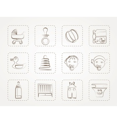 Child Baby and Baby Online Shop Icons vector