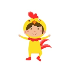 Child Wearing Costume of Chicken vector