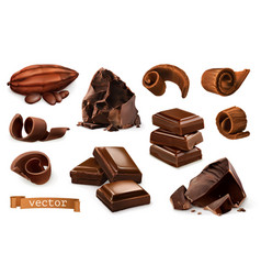 Chocolate pieces shavings cocoa fruit 3d vector