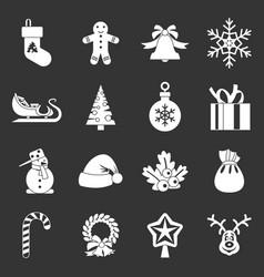 christmas icons set grey vector image