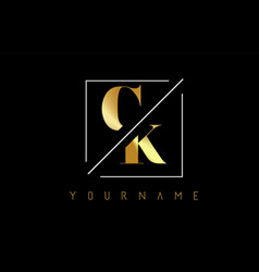 ck golden letter logo with cutted and intersected vector image