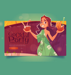 cocktail party landing woman with coconut drinks vector image