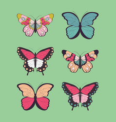 collection six hand drawn colorful butterflies vector image