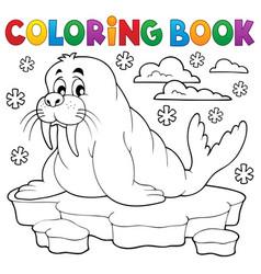 coloring book walrus theme 1 vector image