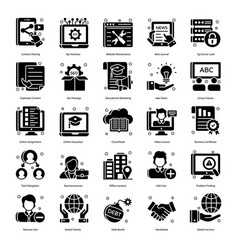 Corporate concepts in glyph style pack vector
