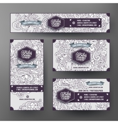 Corporate identity templates set with doodles baby vector