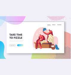 Couple men sitting on wooden bench in steam vector