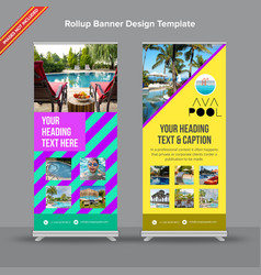 Creative rollup banner in neon shades and vector