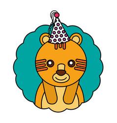 Cute tiger kawaii party hat vector