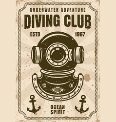 Diving club retro poster with diver helmet vector