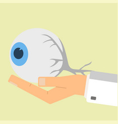 Doctor hand holding human eye healthcare vector