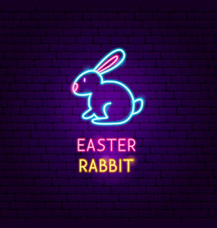 Easter rabbit neon label vector