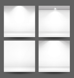 Empty white photo studio interior background set vector
