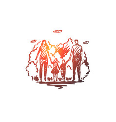 family walk park parents leisure concept hand vector image