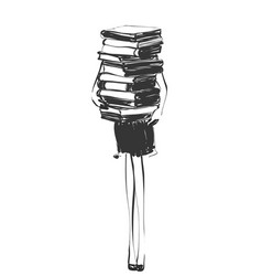 Fashion model with stack of books vector