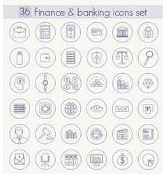 Finance and Banking Outline icon set Thin vector image