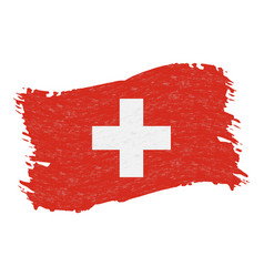 Flag of switzerland grunge abstract brush stroke vector