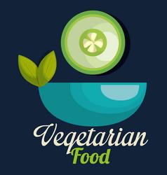 fresh cucumber in bowl vegetarian food vector image