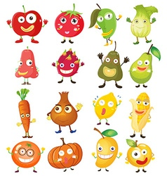 Fruit and vegetables with face vector