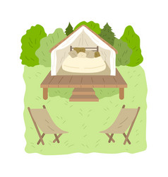 Glamping wooden house with bedroom inside vector