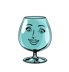 Glass goblet woman face character vector