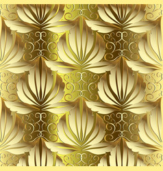gold 3d damask baroque seamless pattern vector image