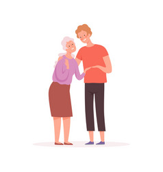 Grandmother and grandson elderly character old vector