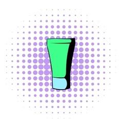 Green cosmetic tube icon comics style vector