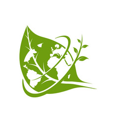 green leaf and earth logo template vector image