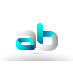 Grey blue alphabet letter ab a b logo 3d design vector