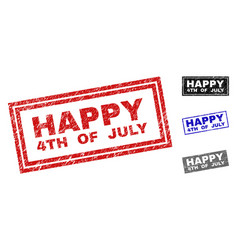 Grunge happy 4th of july scratched rectangle vector