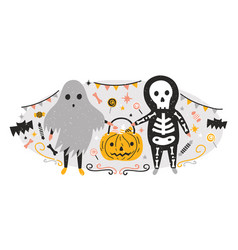 halloween composition with funny spooky ghost and vector image