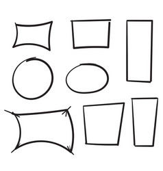 hand drawn doodle frame collection with line art vector image